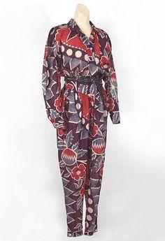 Kenzo cotton print blouse & pants, at Vintage Textile Vintage Dresses, Vintage Outfits, Clothing And Textile, Vintage Textiles, Printed Blouse, Kenzo, High Fashion, Paisley, Lace