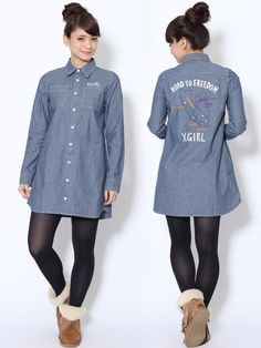 EMBROIDERED CHAMBRAY DRESS(シャツワンピース) X-girl(エックスガール) calif(カリフ) B's INTERNATIONAL公式通販サイト