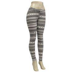 Black and White Greek Key Pattern Stretch Leggings
