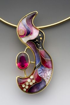 One-of-a-kind Pendant by Anna Tai. Enamel, 18k, 22k, and 24k gold, fine silver, and rubellite
