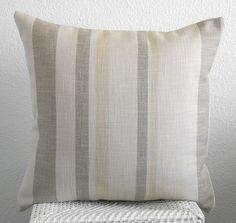 Decorative pillow - throw pillow - accent pillow - 18 x 18 - cream gray soft yellow stripes. $25.00, via Etsy.