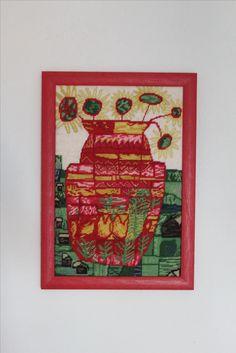 Hundertwasser Sonnenblumen rot gestickt byPAULA