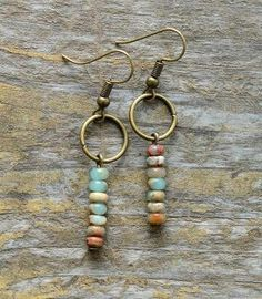 Women's Earrings Vintage Natural Stone Dangle Earrings - Bohemian Jewelry Circle Earrings, Silver Hoop Earrings, Vintage Earrings, Earrings Handmade, Women's Earrings, Handmade Jewelry, Diamond Earrings, Earrings Online, Silver Hoops