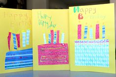40 homemade cards for kids to make including birthdays, holidays, and thank you cards  | Tinkerlab handmade birthday cards, card idea, 40 homemad, kid made birthday cards, homemad birthday, kid stuff, homemade cards, homemad idea, homemad card