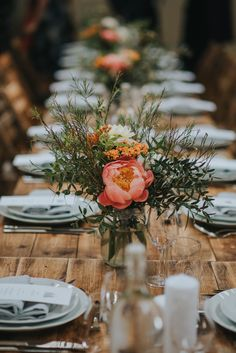 Coral Peony Humanist Wedding at The Tab Centre Shoreditch Coral Wedding Decorations, Floral Centerpieces, Wedding Centerpieces, Wedding Table, Flower Arrangements, Rustic Wedding, Table Decorations, Centrepieces, Wedding Ideas