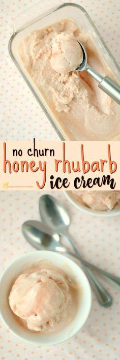 No Churn Honey Rhubarb Ice Cream, Desserts, 20 Really Awesome Rhubarb Dessert Recipes Ice Cream Treats, Ice Cream Desserts, Frozen Desserts, Ice Cream Recipes, Frozen Treats, Summer Desserts, Weight Watcher Desserts, Real Food Recipes, Dessert Recipes