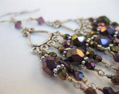 Elegant Amethyst Purple Iris glass and Swarovski crystals Bali oxidized sterling silver chandelier earrings DressyCasual wear silver jewelry - pinned by pin4etsy.com