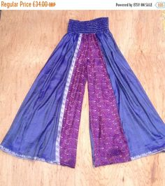 ON SALE Free Size, Indigo Galaxy Flow Pants, Silk Sari