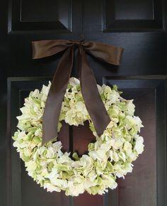 Hydrangea Wreath Green Hydrangea Wreath Satin by elegantholidays. , via Etsy.