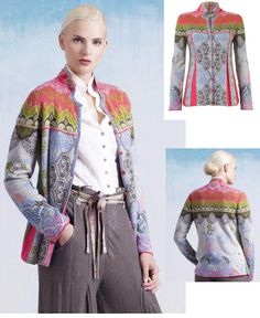 IVKO Woman`s Ornament Jacket in super soft cotton. Stone grey blends with greens, pinks and oranges.  Like a wonderful assortment of sherbet colors.