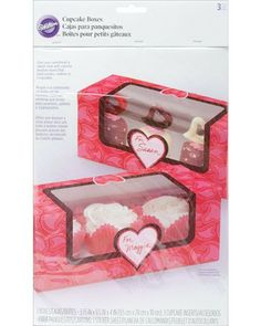 Wilton Cupcake Box 3 Cavity 3/Pkg You Bake Me Smile