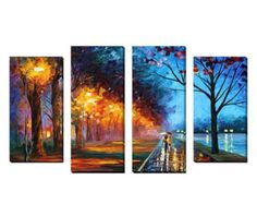 """Large Canvas Wall Art Set of 4 by Leonid Afremov """"Alley by the Lake Music Painting, Oil Painting On Canvas, Painting Prints, Large Canvas Wall Art, Canvas Wall Decor, Canvas Art, School Murals, Seascape Paintings, Wall Art Sets"""