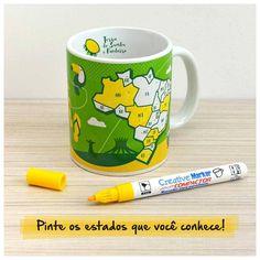 Caneca para colorir as viagens realizadas. Caneca Meu Brasil para Colorir + Caneta Especial para Porcelana CAN002A