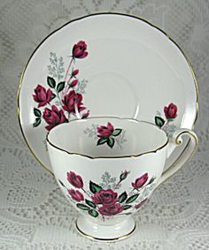 Shelley China Red Rose Cup And Saucer Ripon Shape Gold Trim