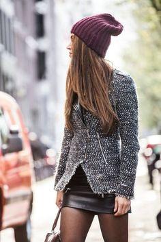 perfect warm jacket, mini skirt and hat