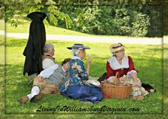 The Picnic - Colonial Williamsburg, Virginia. A picnic on a warm day makes for a great double date; even in 1774. LivingInWilliamsburgVirginia.com