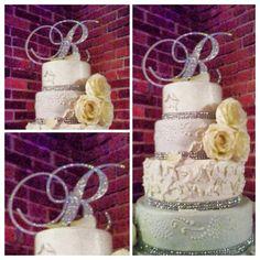 Monogram Cake Toppers, Gold Cake Topper, Wedding Cupcakes, Wedding Cake Toppers, Engagement Signs, Crystal Cake, Wedding Letters, Crystal Wedding, Or Rose