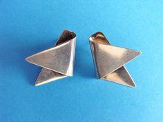 Modernist geometric folded silver earrings by Ginkgosilver on Etsy, £20.00