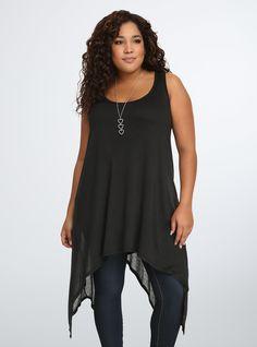 Knit Gauze Hi-Lo Tunic Tank Top, DEEP BLACK
