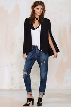 Nasty Gal Champagne Taste Cape Blazer - Black - Best Sellers | Back In Stock | Blazers + Capes | Jackets + Coats