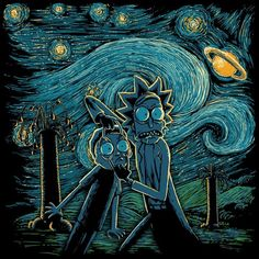 Exclusive Starry Rick And Morty Noche Estrellada fan art mash up designs on a range of apparel and accessories. Rick And Morty Drawing, Rick I Morty, Rick And Morty Poster, Ricky And Morty, Japon Illustration, Fan Art, Cartoon Wallpaper, Vincent Van Gogh, Cool Art