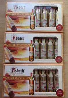 Great Asbach Uralt Brandy 3 x 8 Filled Bottle Shaped Chocolates with Sugar Crust New