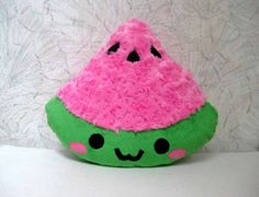 """Title: SUMMER SLICE Watermelon Plush Pillow in Pink. The pillow you receive may differ slightly due to handcrafted nature of each pillow. This kawaii (cute) pillow, measuring approx. 11"""" wide (wides"""