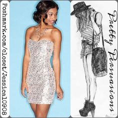 Trixxi Silver Sequin Sweetheart Mini Dress COMING SOON  Prom, cocktail party, weddings, special occasions... Trixxi Dresses Mini