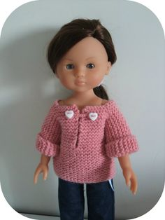 Would be an easy knit - perfect for Emory or Erica V?ries : Would be an easy knit - perfect for Emory or Erica V? Pull Crochet, Crochet Baby, Knit Crochet, Ag Dolls, Cute Dolls, Barbie Dolls, Nancy Doll, Barbie Basics, French Pattern