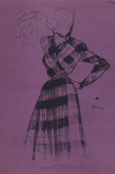 Illustration by René Gruau, 1945, Jeanne Lafaurie Couture.