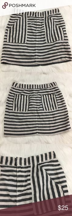"Broadway & Broome Striped Skirt Broadway & Broome Striped Gray and White Skirt with front pockets - RN77388 = J Crew  55% Linen, 45% Cotton Waist: 14.5"" (flat lay) Length: 15"" Broadway & Broome Skirts"