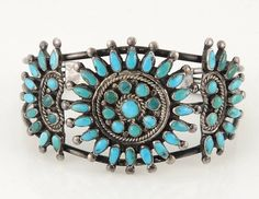 Old Pawn BRACELET Sterling Silver Turquoise Zuni Native American Jewelry N23