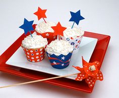 Printable Patriotic Cupcake Liners and Toppers