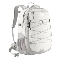White North Face borealis backpack with a pink monogram