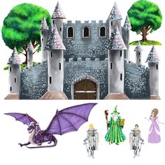 "Take her obsession with princesses to a new level with this huge castle mural! With a realistic castle spanning three feet - trees - a smiling purple dragon - gallant knights - a knowing wizard - and - of course - a beautiful princess - she'll love her medieval-themed room.  Small: Castle: 30 x 19"", Tree 1: 8.5 x 7.5"", 2: 7.5 x 6.5"", Wizard: 7.25"", 2 x Knights: 7.5"", Dragon: 12.25"", Princess: 7""  Large: Castle: 30"" x 19""; Tree 1: 8.5"" x 7.5"", 2: 7.5"" x 6.5""; Wizard: 7.25""; 2 x Knights: 7.5""…"