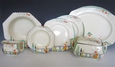 A Burleigh Ware Art Deco dinner service in Riviera pattern by Harold Bennett on Imperial shape by