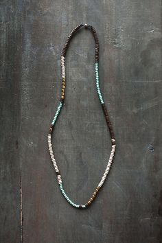 Mixed Media Boho Necklace Brown Mint Gold Metal by BlueBirdLab