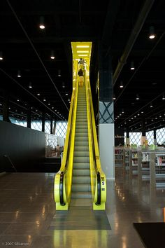 Awesome Neon Green escalators inside the Seattle Public Library!