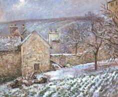 Snow at the Hermitage, Pontoise, 1874 - Camille Pissarro