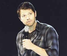 "This is what I call ""Puppy dog eyes done by Misha Collins...""  Is he cute or what??"