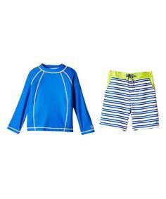 Blue Stripe Rashguard Set - Kids #zulily #zulilyfinds