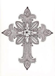 Tangled Ornate Cross Drawing