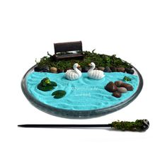 Mini Zen Garden // Miniature Pond // Desk Accessory // DIY Zen Kit // Fairy…                                                                                                                                                     More