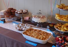 Donut Party Birthday theme- breakfast buffet..french toast casserole, little sausages, jug juice jugs for milk