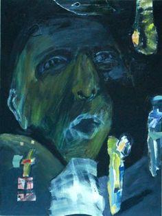"Saatchi Art Artist Kathleen Noyes; Collage, ""Green Figure"" #art"