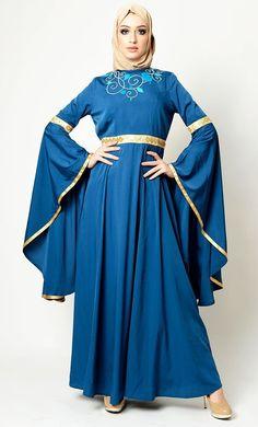 Veil Design Emebroidery And Trumpet Sleeves Abaya Dress Modest Wear, Modest Outfits, Kaftan Abaya, Kaftan Style, Pakistani Outfits, Navy Blue Dresses, Green Dress, Baby Dress, Casual Wear