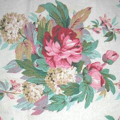 vintage barkcloth ~ cabbage rose