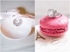 Wedding rings on macarons  | Image by Le Secret d'Audrey, read more http://www.frenchweddingstyle.com/romantic-small-wedding-paris/