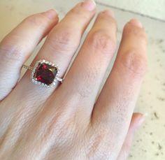 Garnet Cushion Cut Engagement Ring Rose Gold Garnet