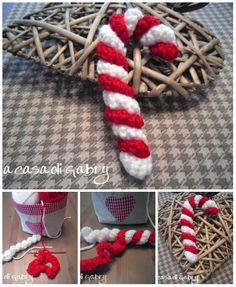 Come fare addobbi natalizi bastoncini di zucchero a uncinetto #tutorial #crochet
